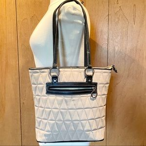 Franco Sarto beige nylon quilted shoulder bag